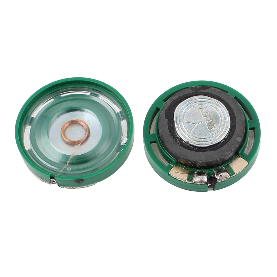2 Pcs 0.25W 8 Ohm 29mm Outside Magnet Electronic Speaker Loudspeaker Green