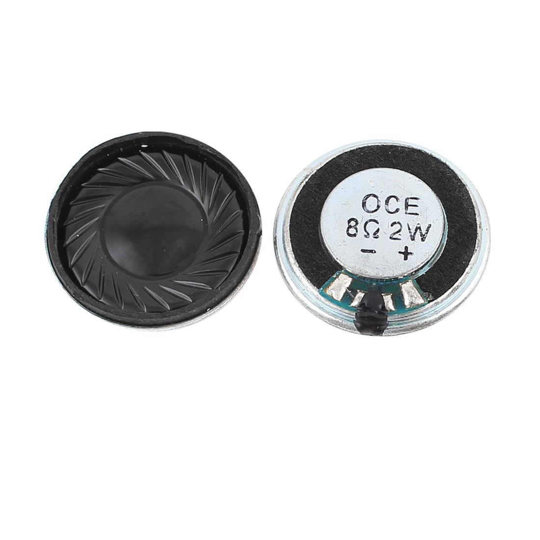 2 Pcs 2W 8 Ohm 29mm Round Inside Magnet Electronic Speaker Loudspeaker