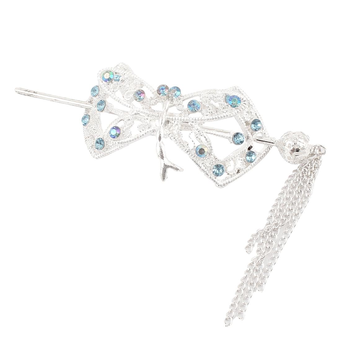 Wedding Teal Rhinestone Inlaid Metallic Ponytail Hairpin Barrette Hair Stick