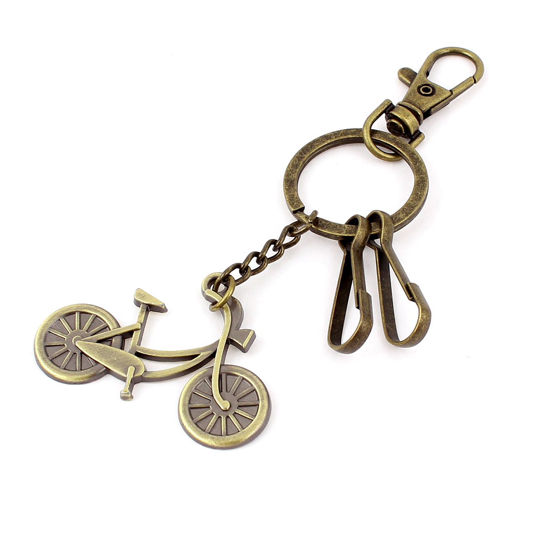 Metal Bicycle Shaped Pendant Swivel Lobster Clasp Keychain Keyring Bronze Tone