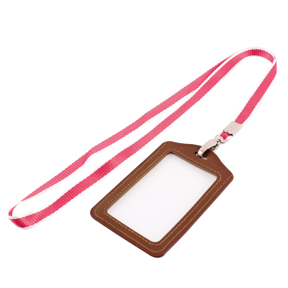 Lanyard Faux Leather Vertical Office Name ID Card Tag Badge Holder Brown Red