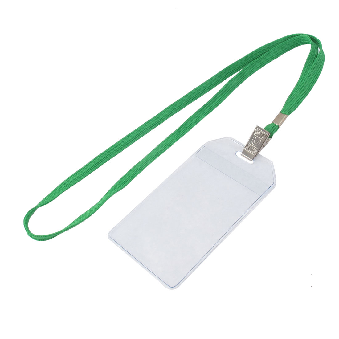 Neck Strap Plastic Vertical ID Name Office Badge Card Holder Green Clear