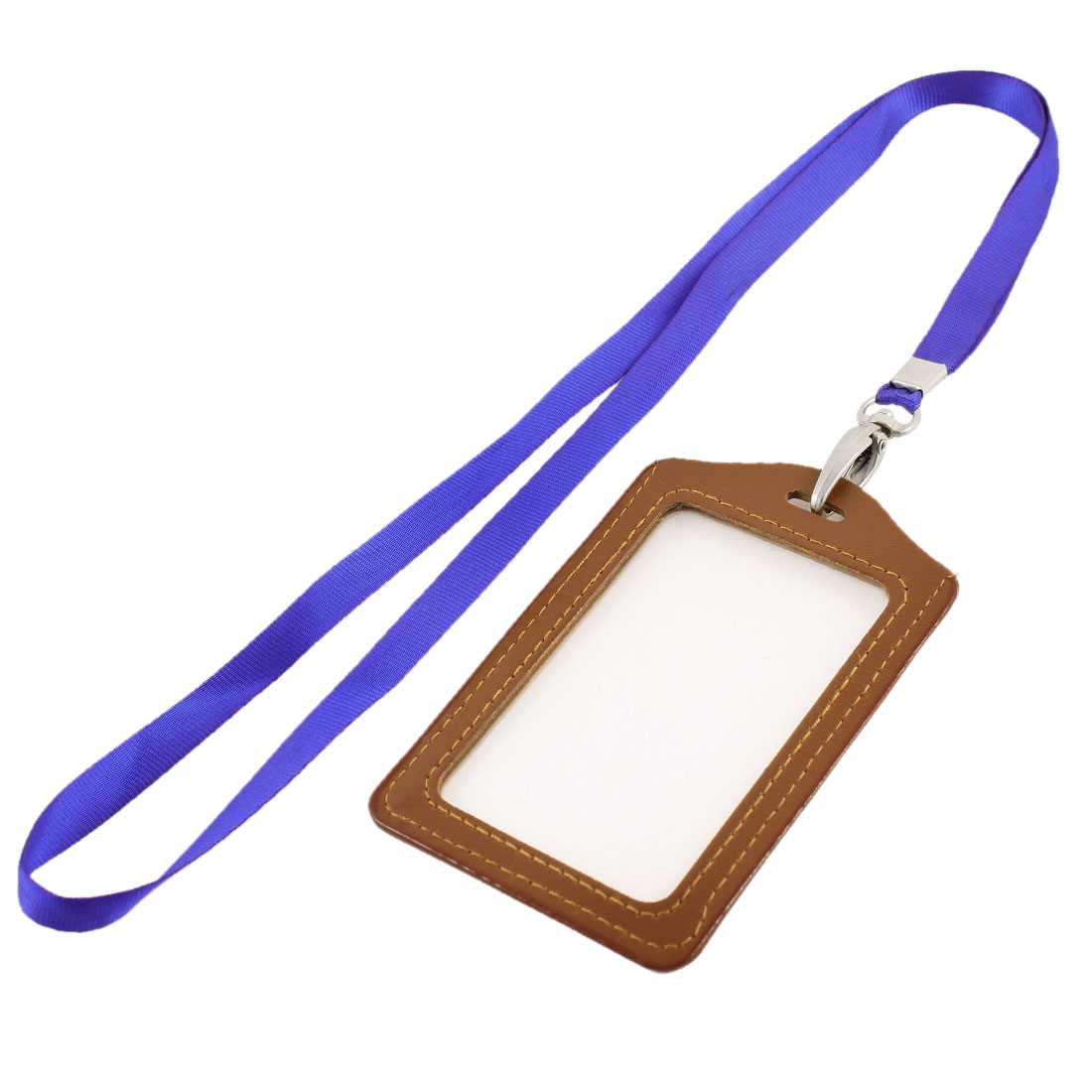 Lanyard Faux Leather Vertical Work Name ID Card Badge Holder Brown Blue
