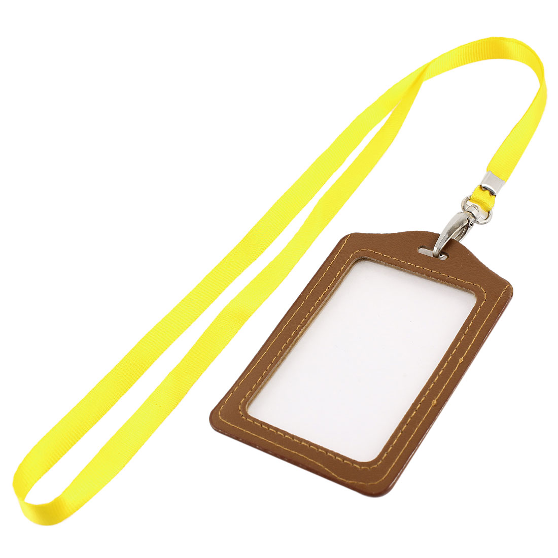 Lanyard Faux Leather Vertical Work Name ID Card Badge Holder Brown Yellow