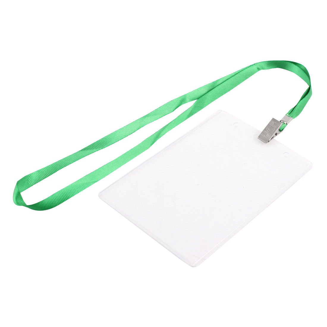 Plastic Vertical ID Office Exhibition Business Badge Card Holder Green Clear