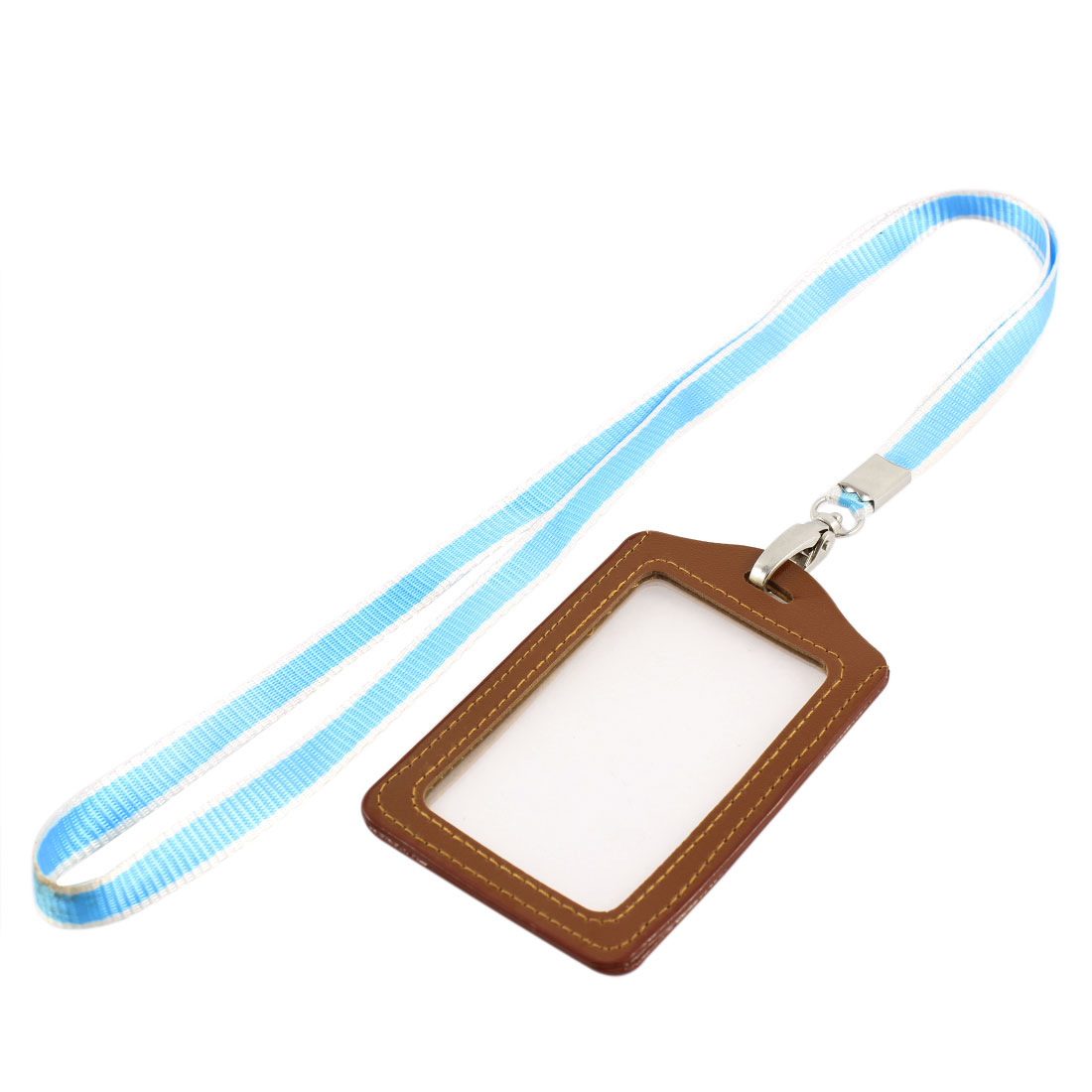 Lanyard Faux Leather Vertical Office Name ID Card Tag Badge Holder Brown Blue