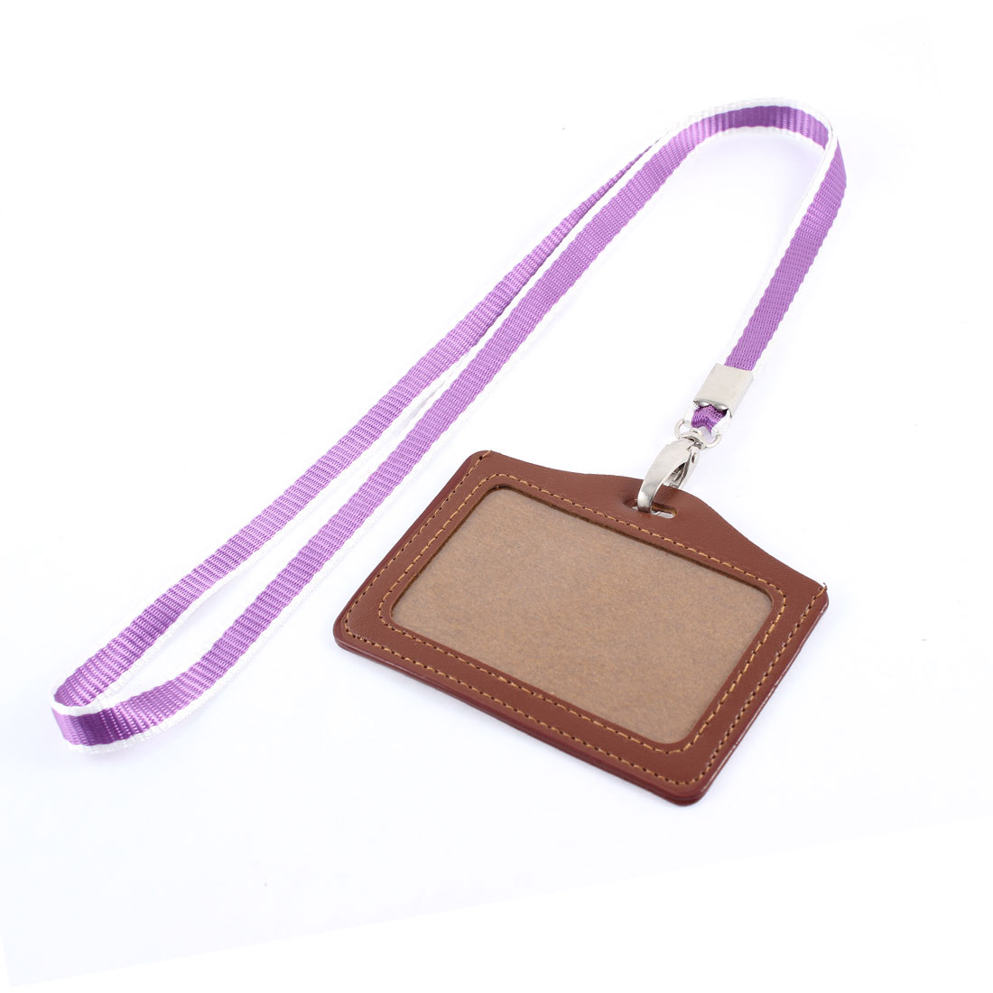 Faux Leather Horizontal Work School ID Card Badge Holder Brown w Purple Neck Strap