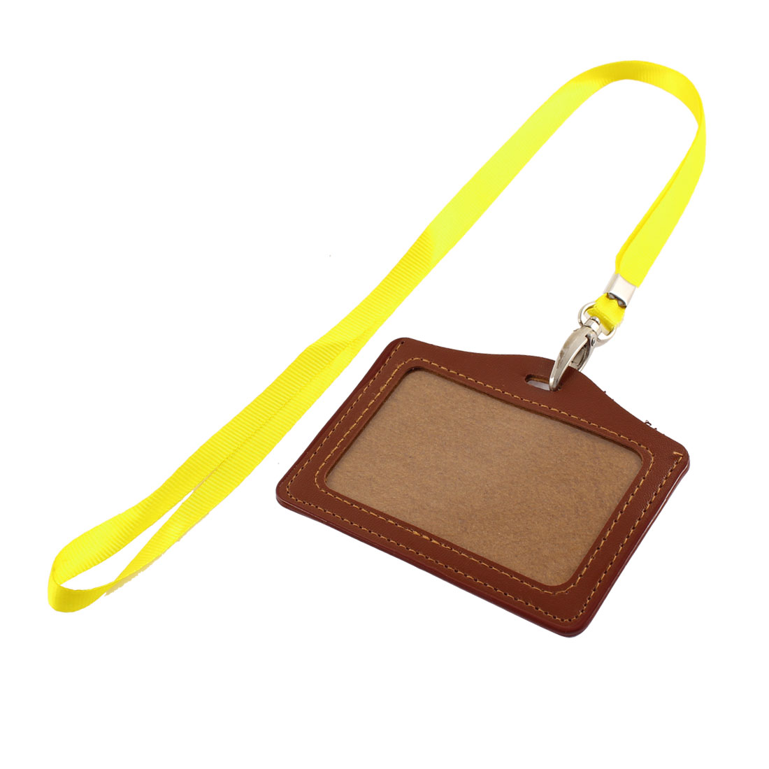 Faux Leather Horizontal Yellow Neck Strap Name Photo Company ID Card Holder
