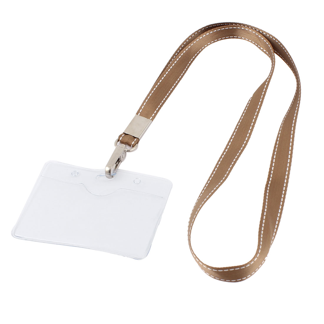 Plastic Horizontal Brown Neck Strap Name Exhibition Position Badge Card Holder