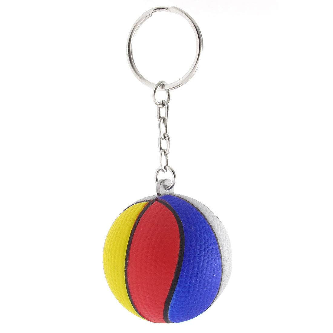 Multicolor Foam Basketball Design Pendant Keychain Key Ring Hanging Ornament