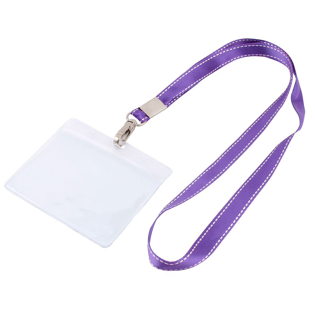 Plastic Horizontal Design Purple Lanyard Name Company Position Badge Card Holder