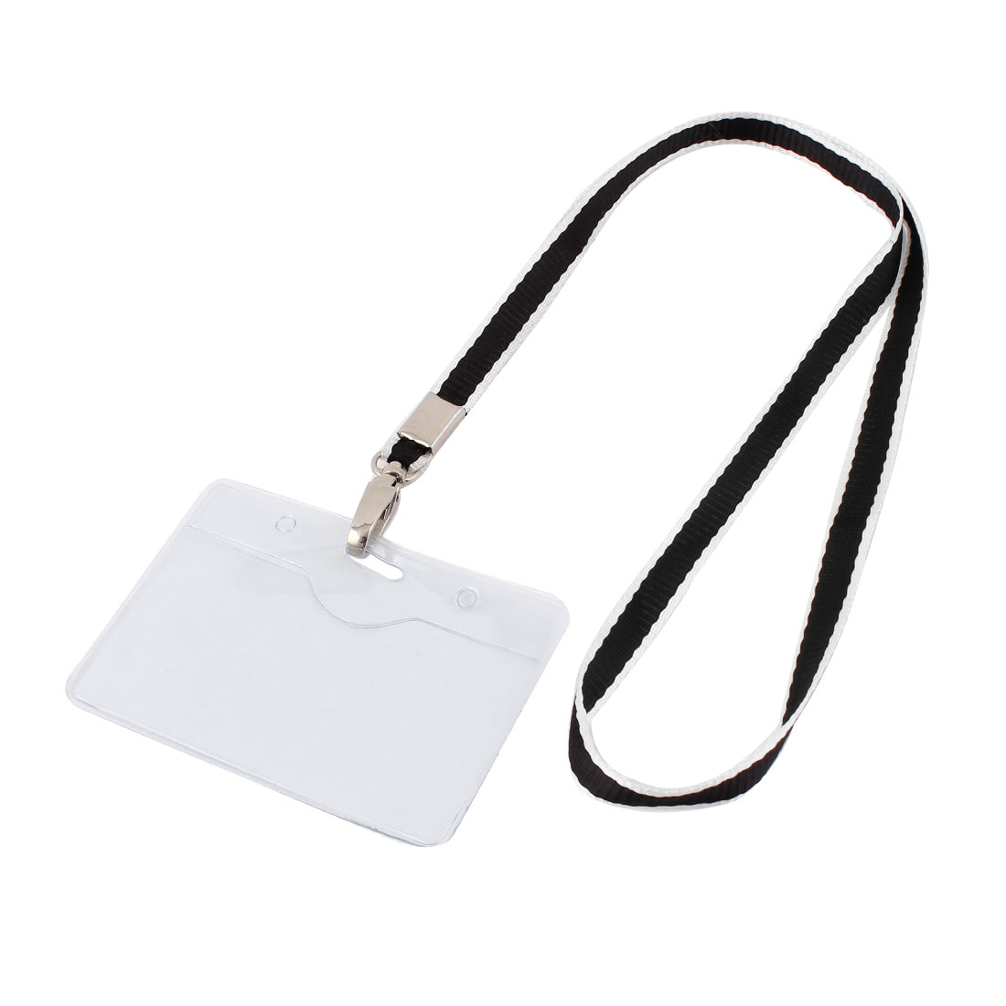 Plastic Horizontal Lanyard Company Position Exhibition Badge Card Holder Black