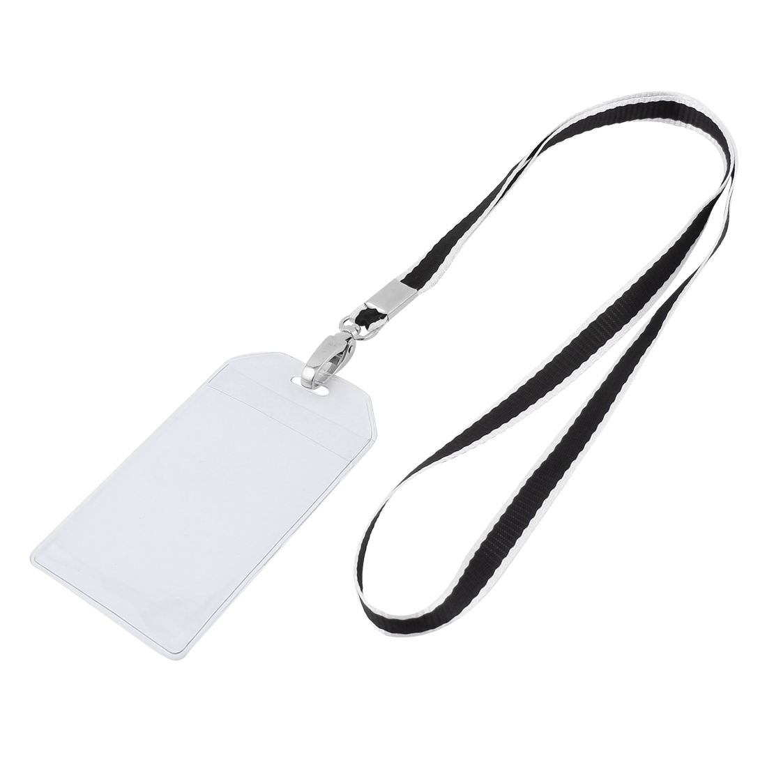 Plastic Vertical Neck Strap Company Position Exhibition Badge Card Holder Black