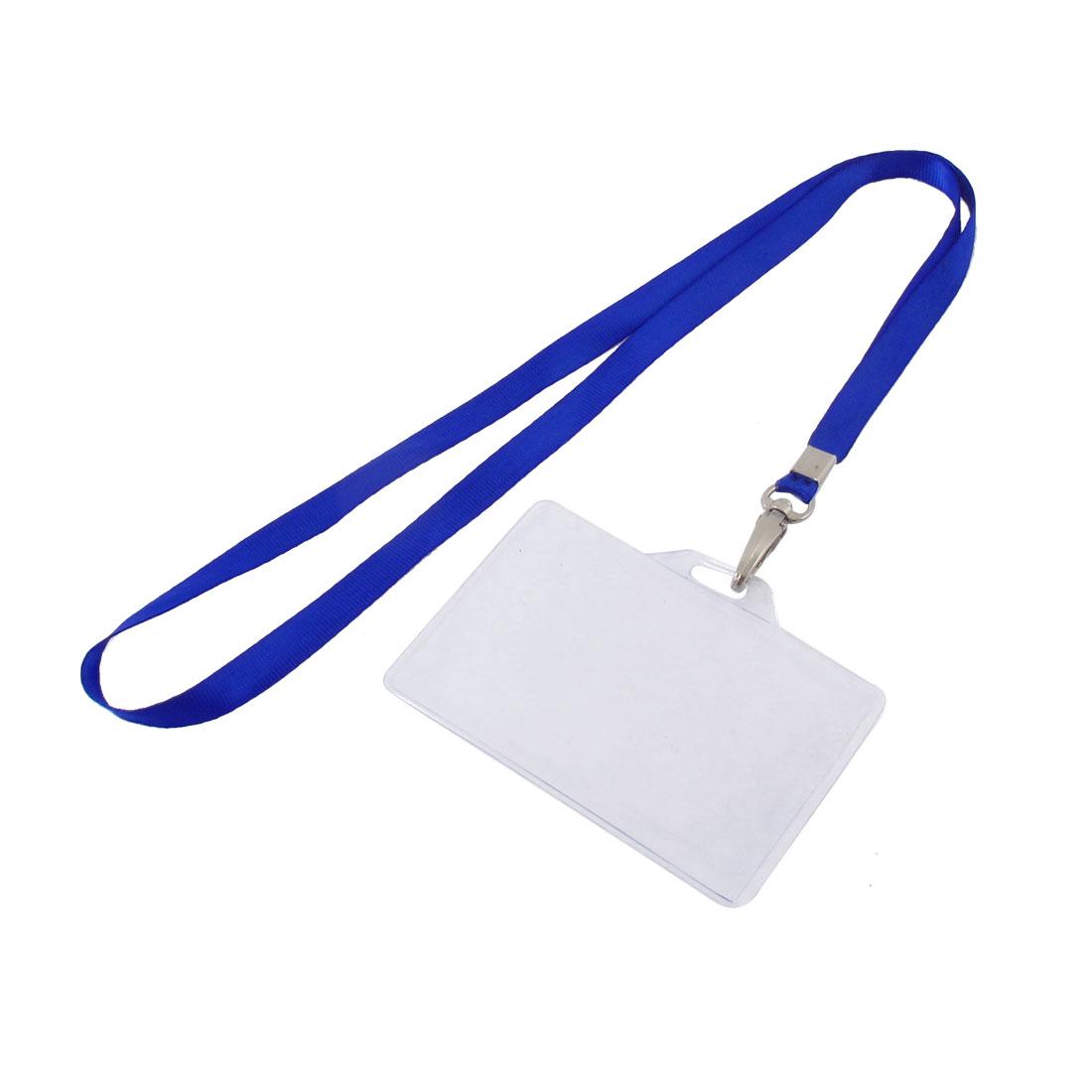 Lanyard Plastic Horizontal ID Name Employee Badge Card Holder Blue Clear