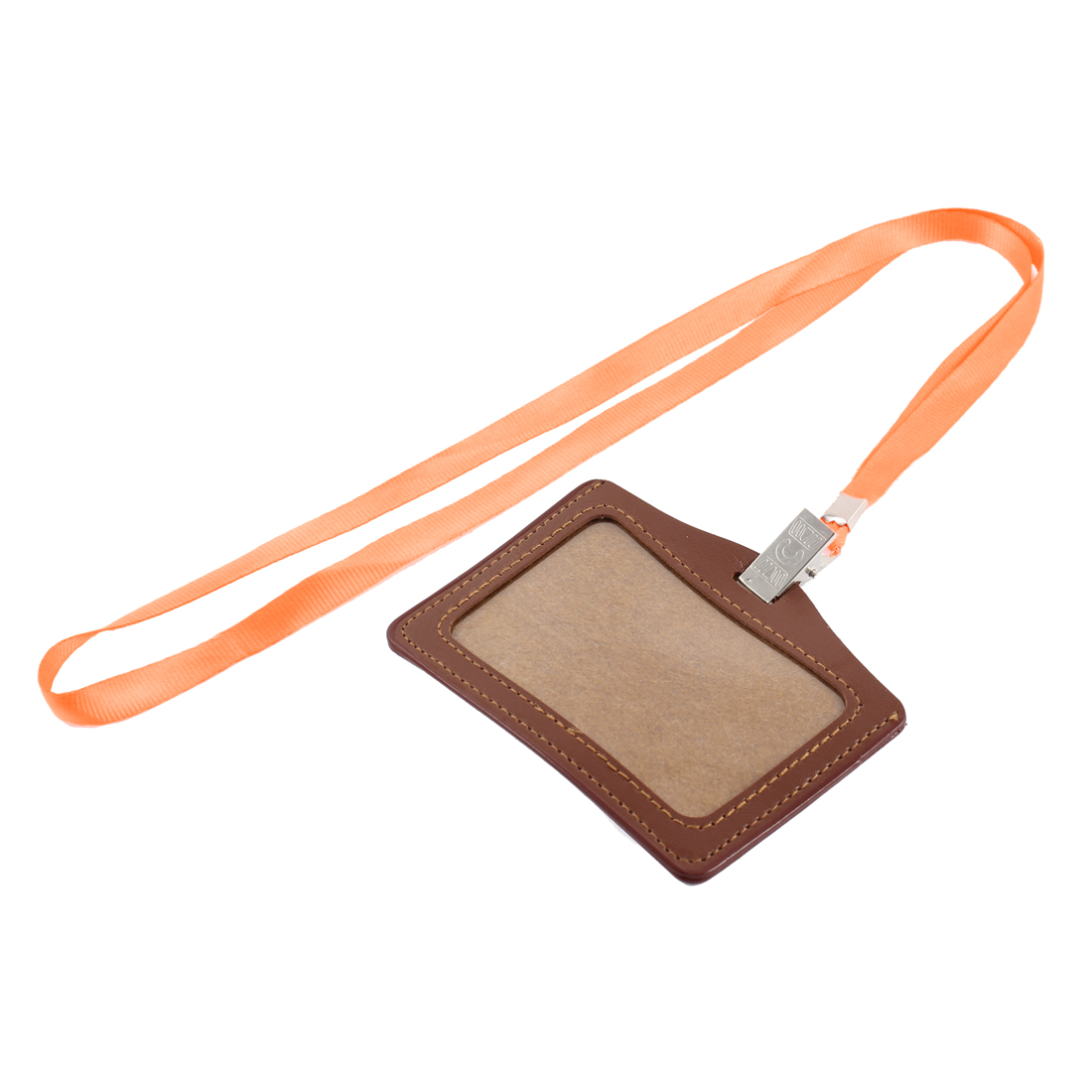 Neck Strap Faux Leather Horizontal Work School ID Card Badge Holder Brown Orange