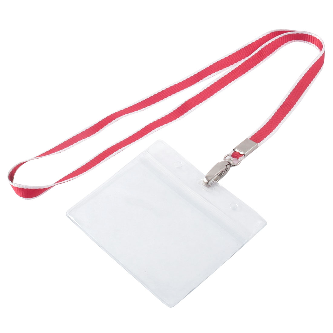 Lanyard Plastic Horizontal ID Office Business Badge Card Holder Red White Clear