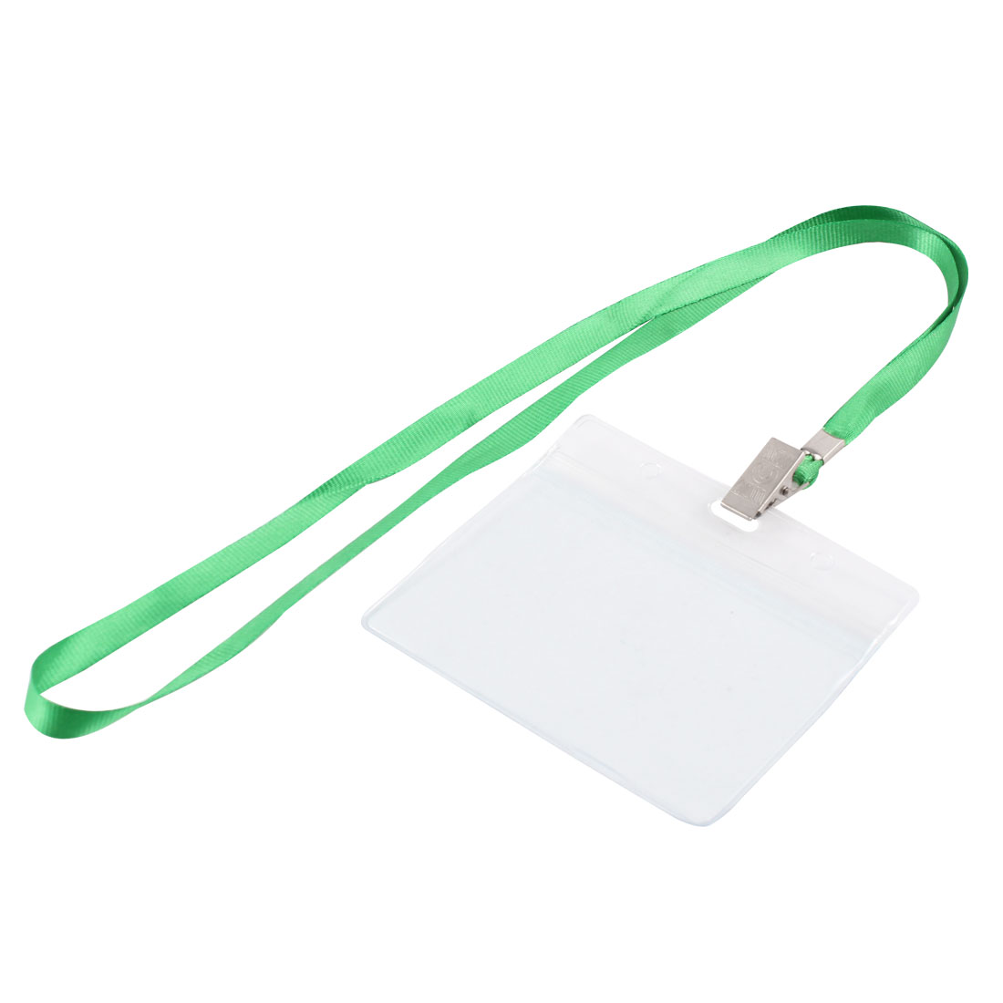 Clear Plastic Horizontal ID Office Exhibition Badge Card Holder w Green Lanyard