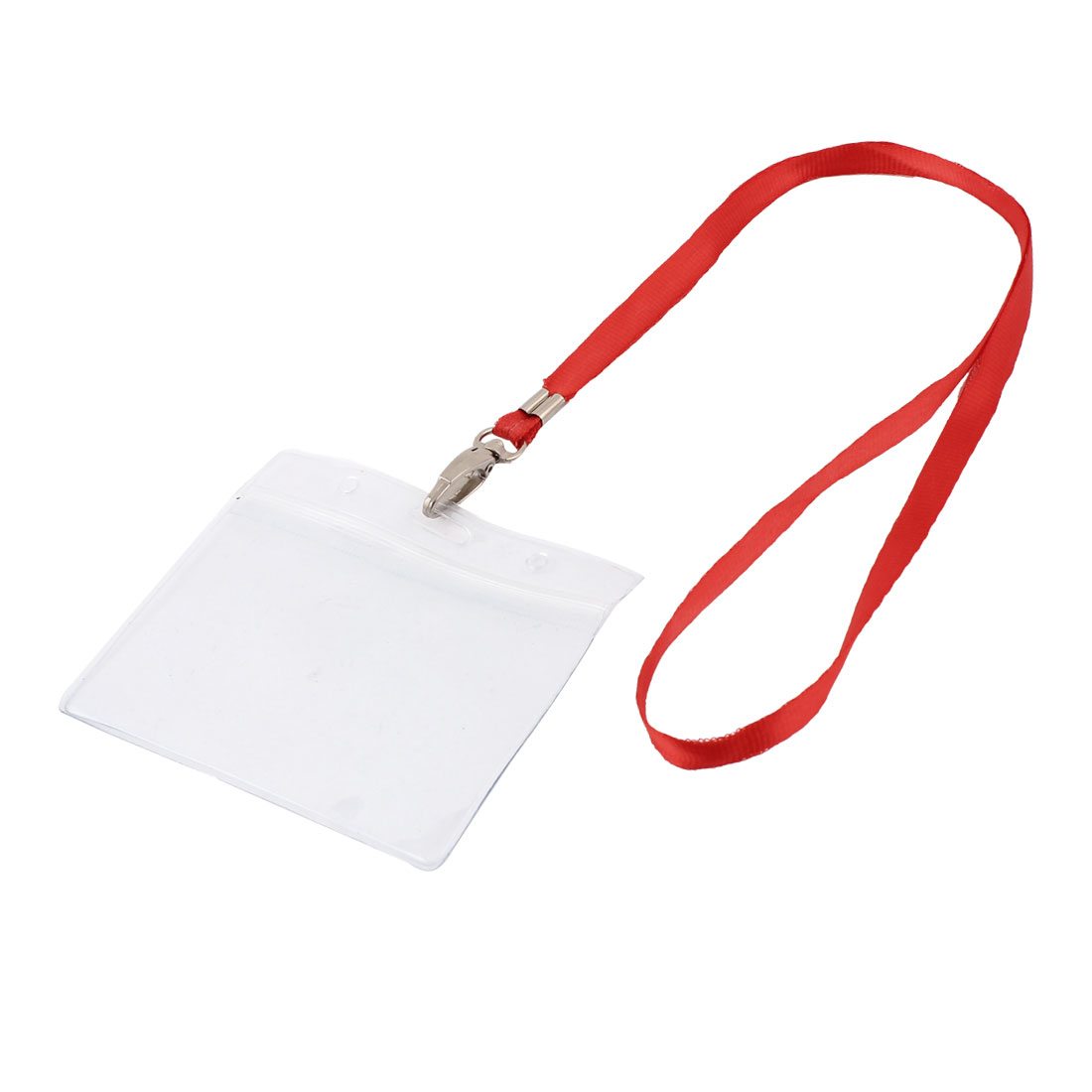 School Exhibition Plastic Horizontal Lanyard ID Work Neck Strap Card Holder Red