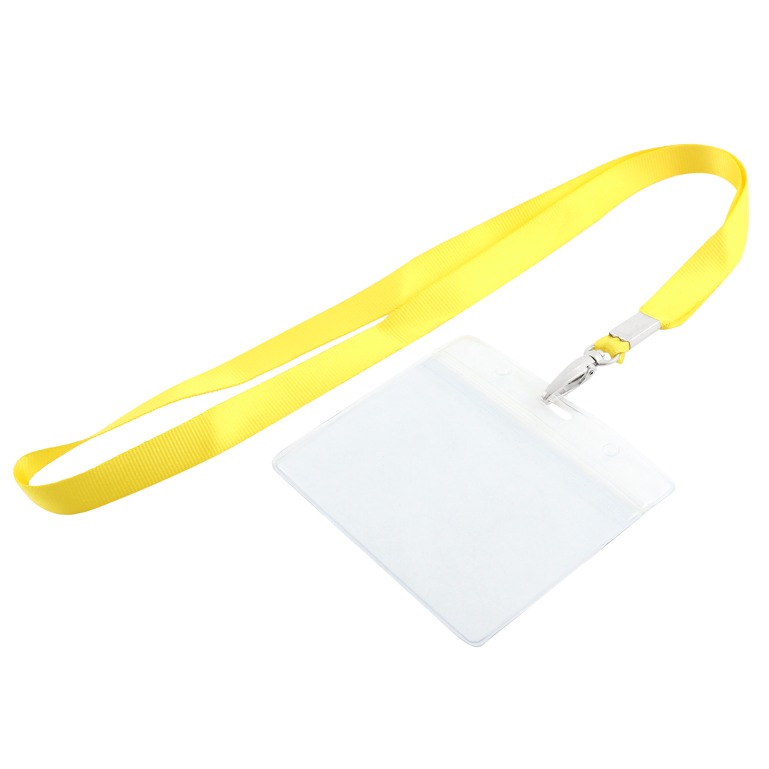 Plastic Horizontal Style Yellow Neck Strap Name Photo Company ID Card Holder