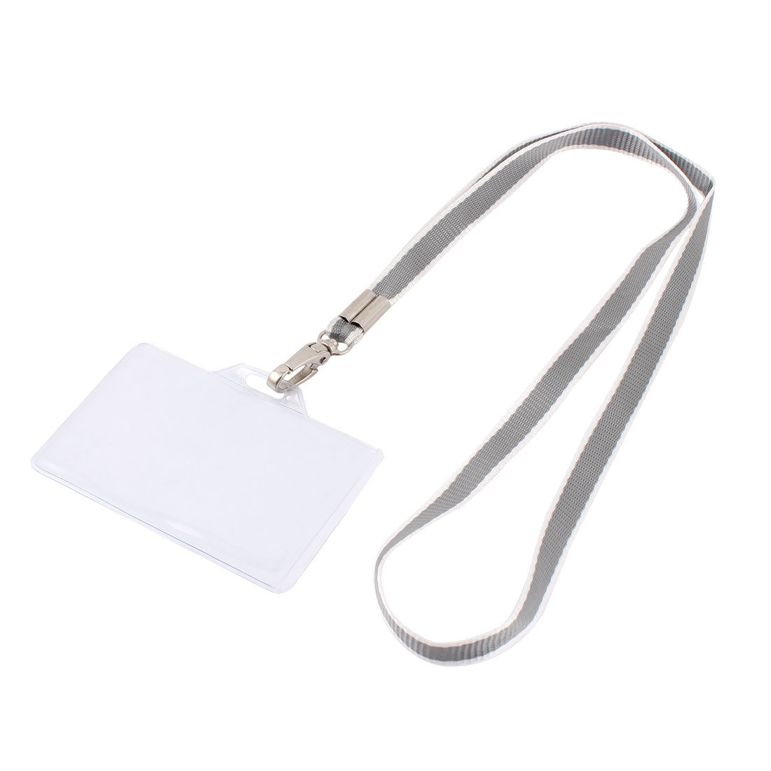 Plastic Horizontal Style Gray Neck Strap Name Position Badge Card Holder
