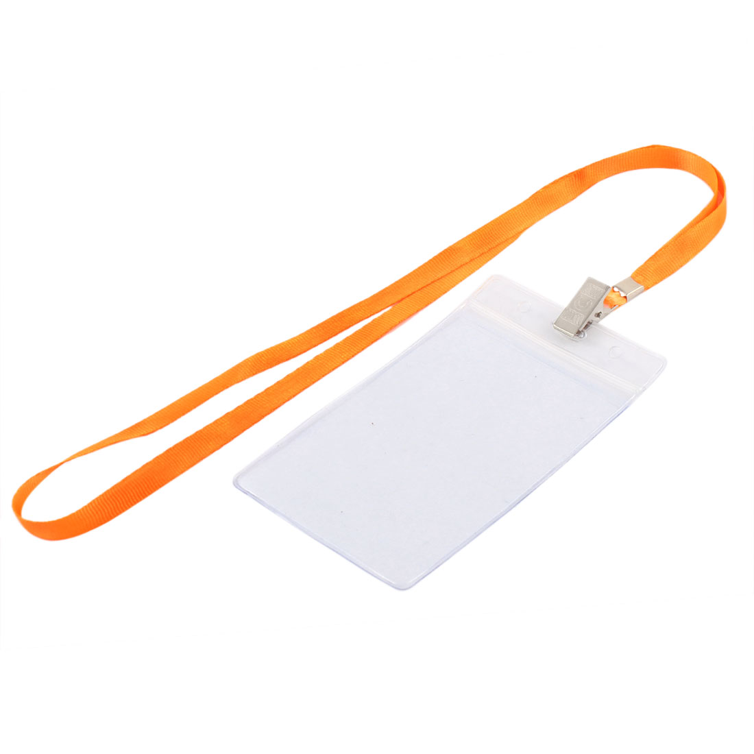 Neck Strap Plastic Vertical ID Name Business Badge Card Holder Orange Clear