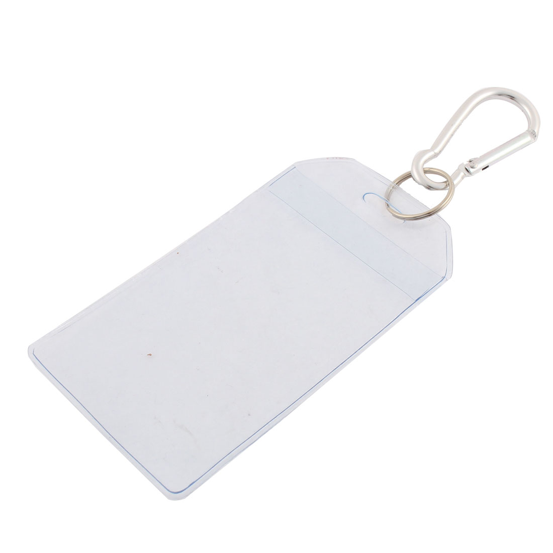 Clear Plastic Vertical Name ID Office Card Badge Holder w Silver Tone Carabiner