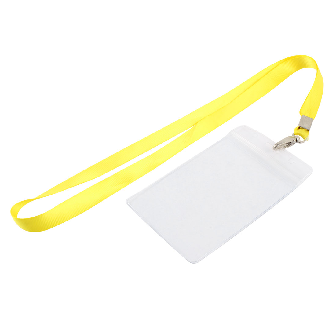 Neck Strap Plastic Vertical ID Office Business Badge Card Holder Yellow Clear