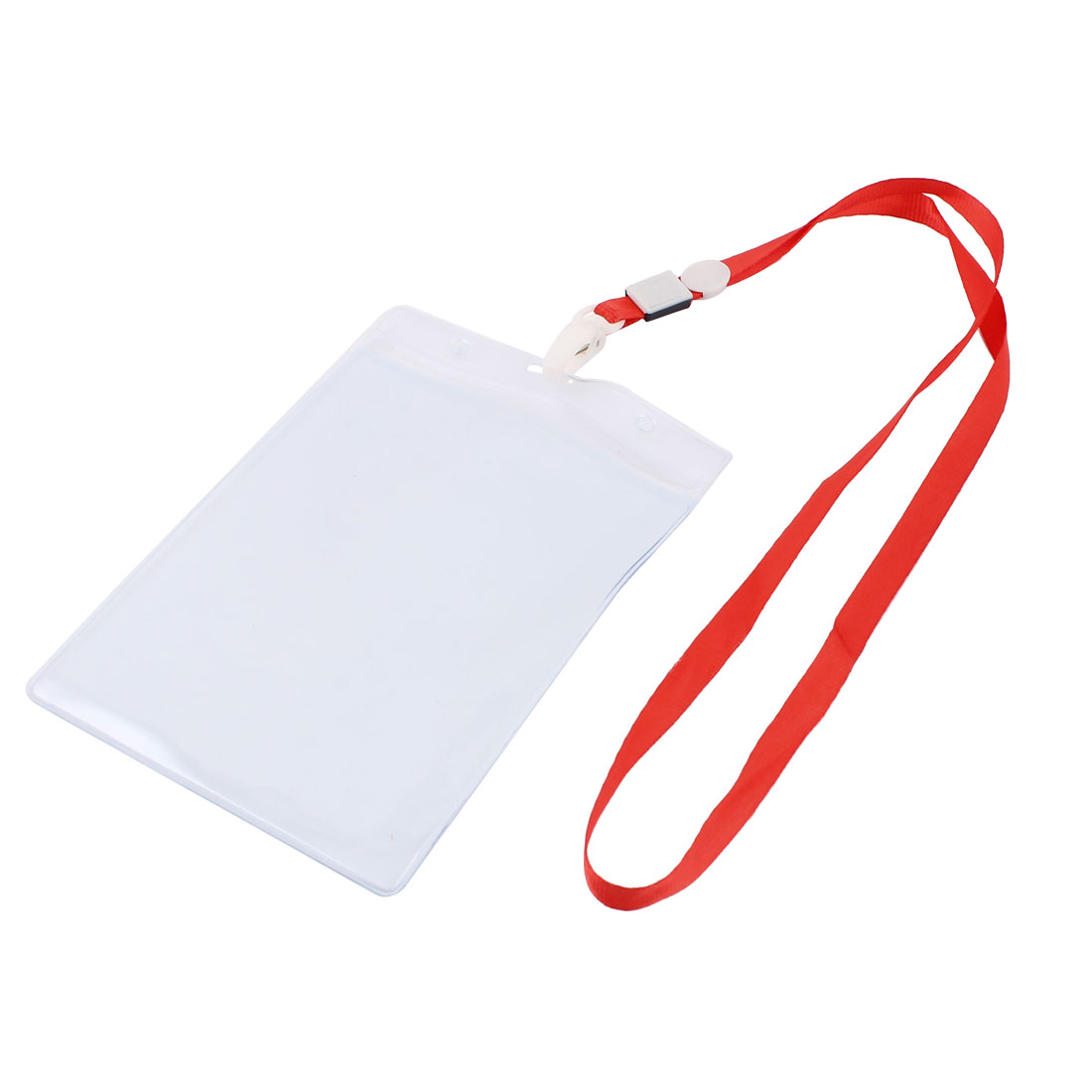 Plastic Vertical Design Lanyard ID Work School Exhibition Badge Card Holder Red