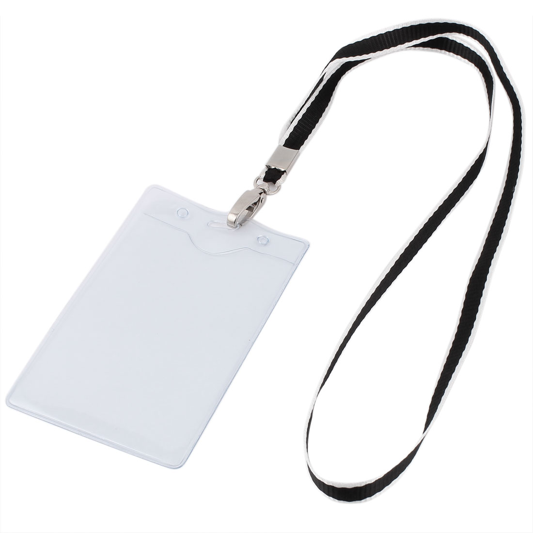 Plastic Vertical Design Lanyard ID Work School Exhibition Badge Card Holder Black