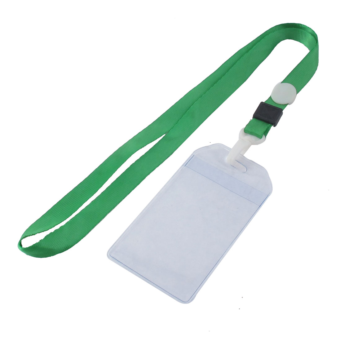 Lanyard Plastic Vertical ID Name Office Business Badge Card Holder Green Clear