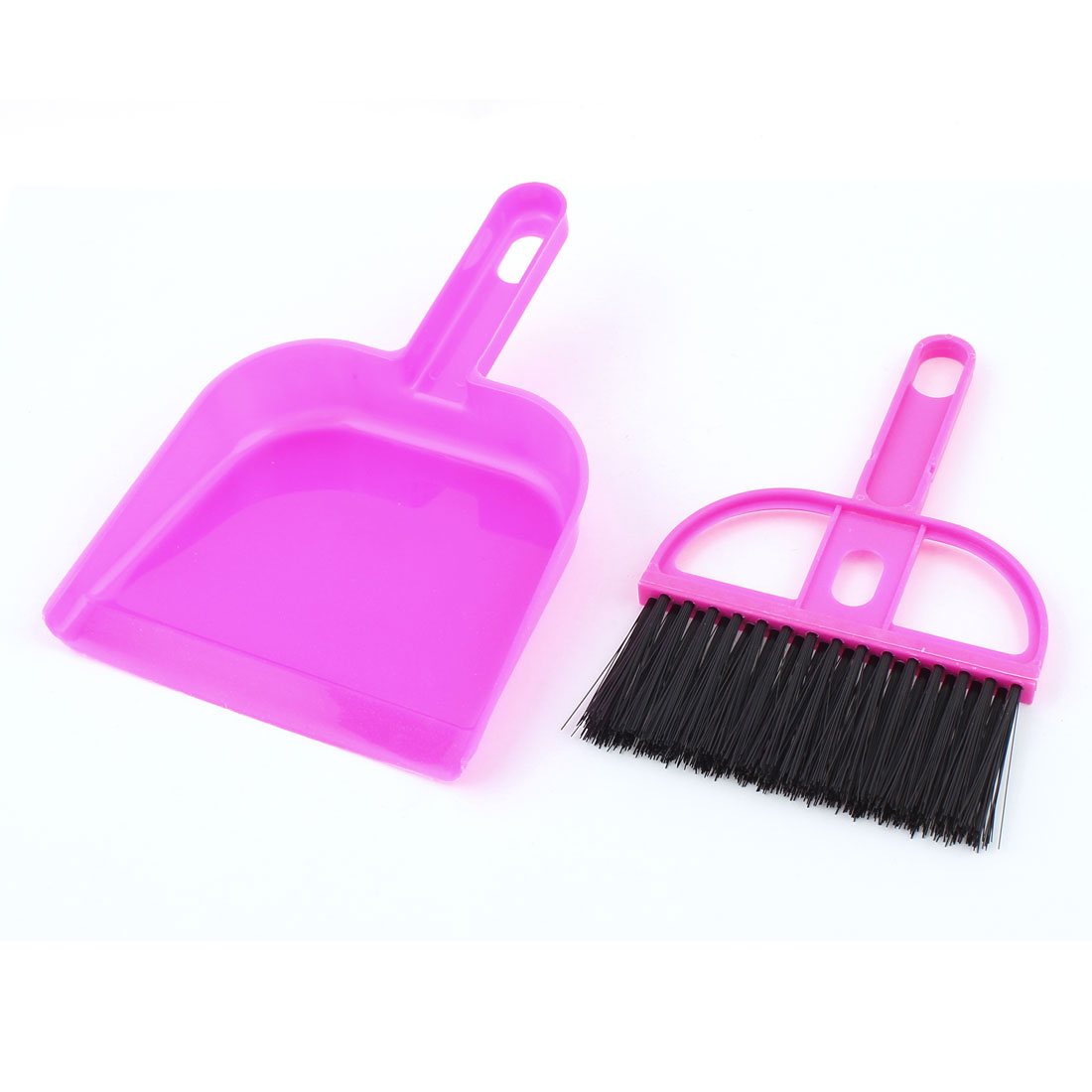 2 in 1 Computer Netbook Keyboard Desk Table Dustpan Broom Cleaner Brush Fuchsia