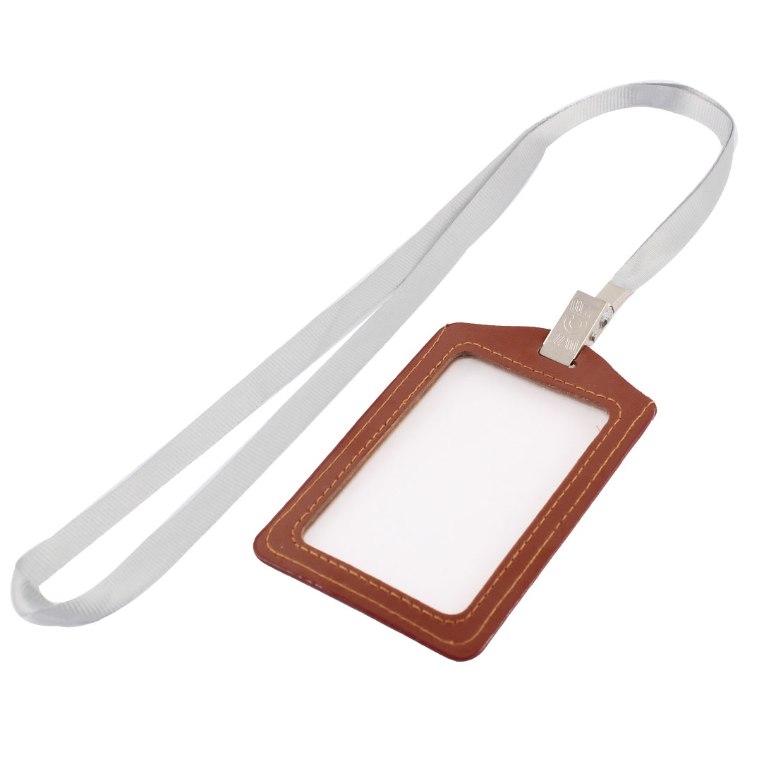 Neck Strap Faux Leather Vertical Work Name ID Card Badge Holder Brown Gray
