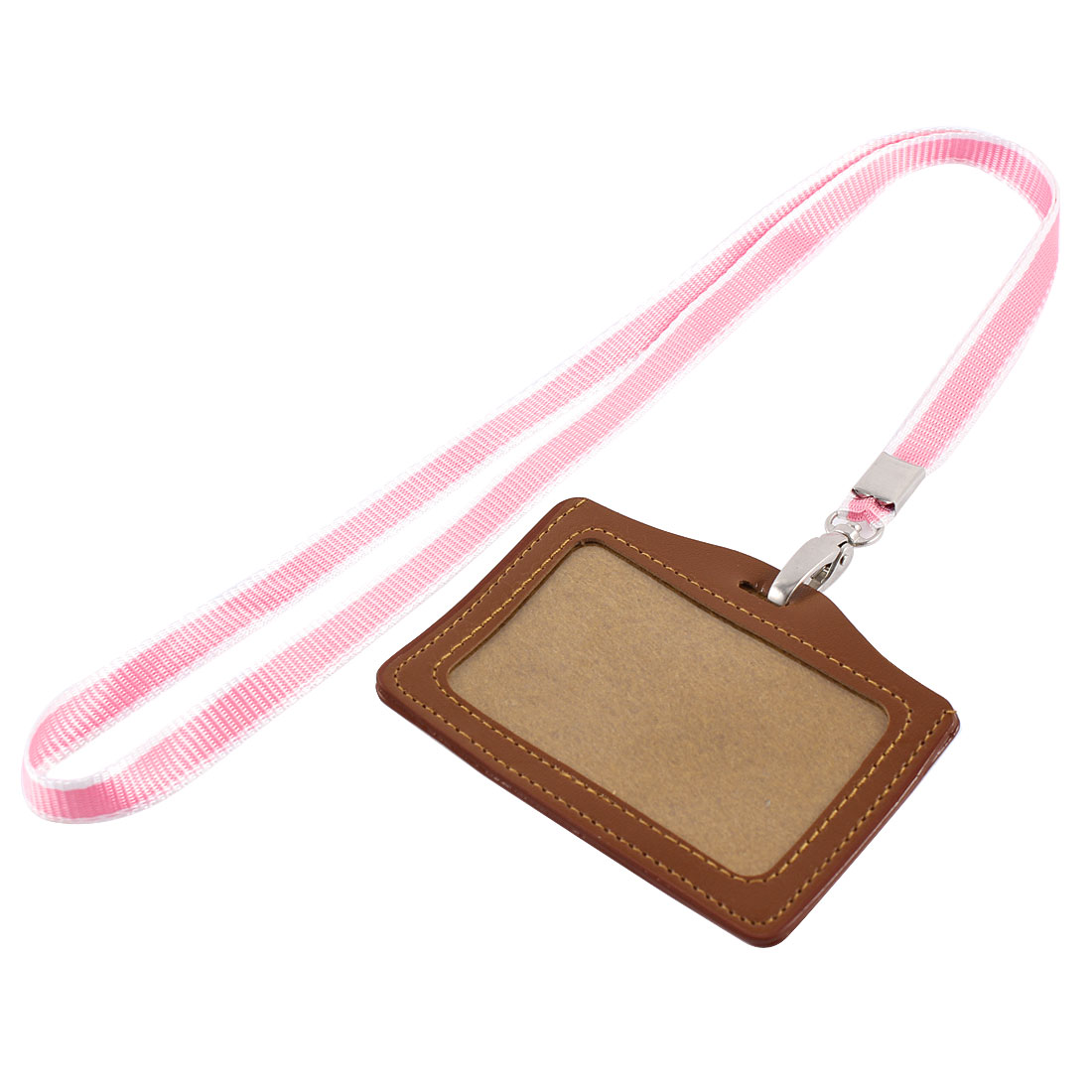 Faux Leather Horizontal Work School ID Card Badge Holder Brown w Pink Neck Strap