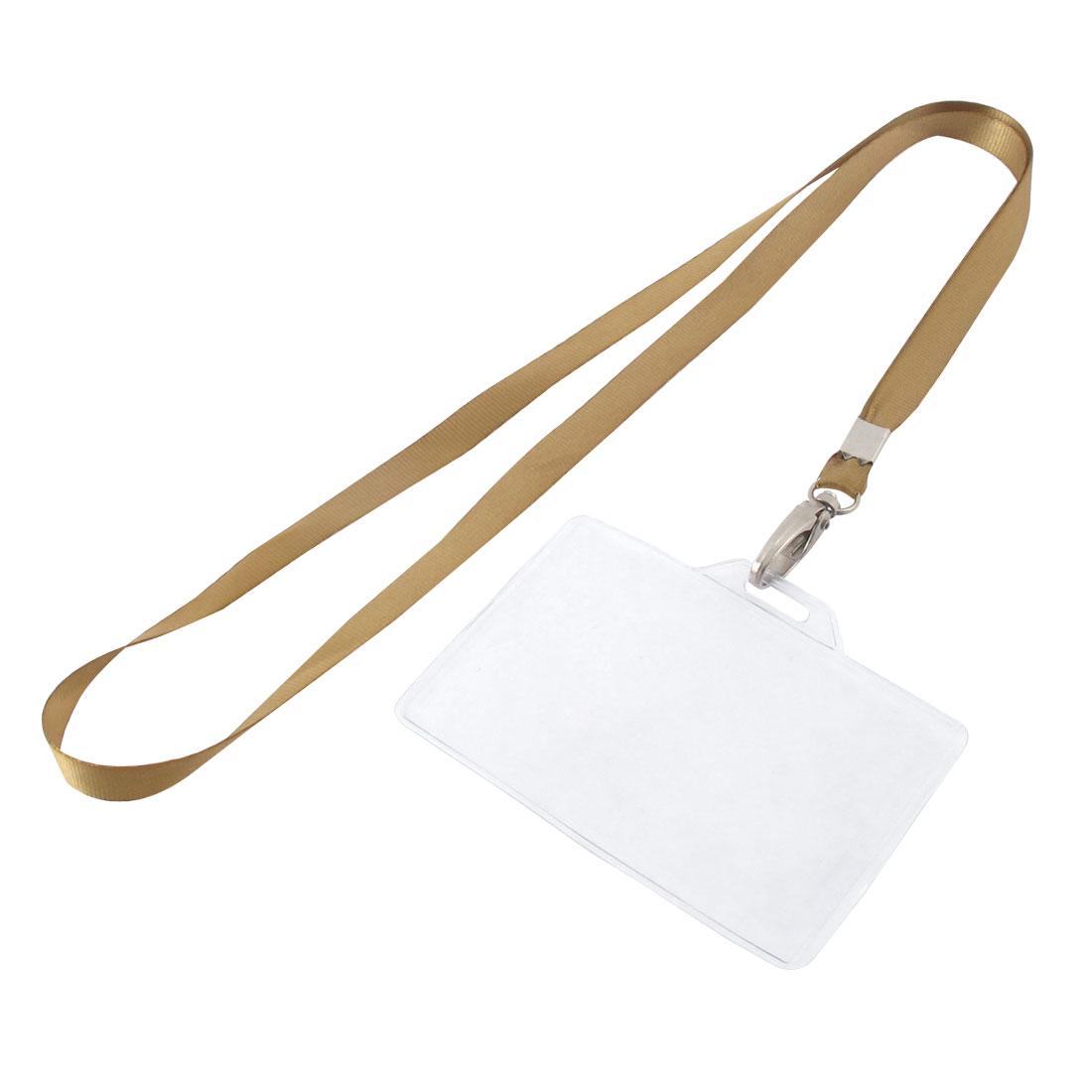 Lanyard Plastic Horizontal ID Name Employee Badge Card Holder Brown Clear