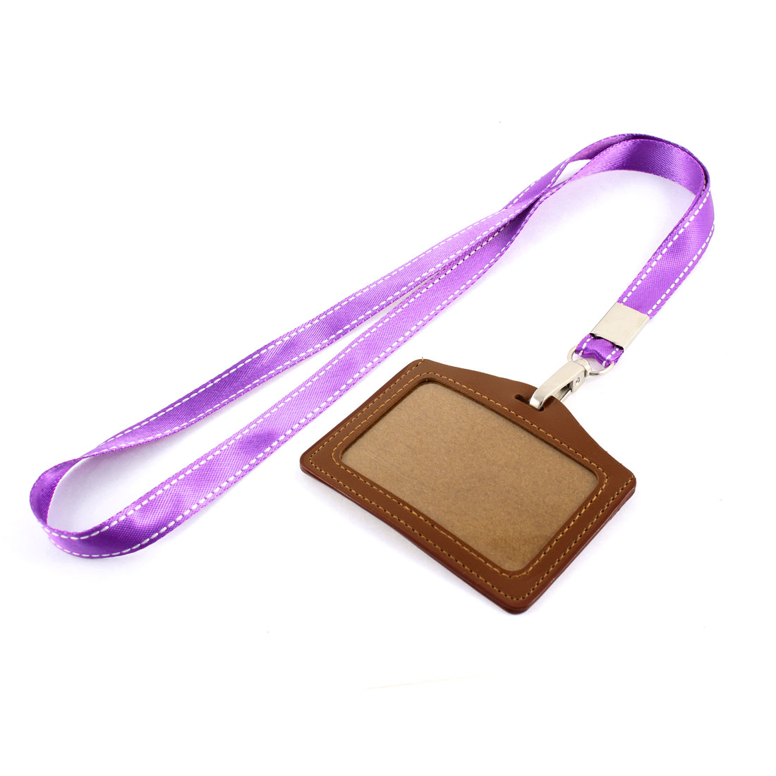 Neck Strap Faux Leather Horizontal Work School ID Card Badge Holder Brown Purple
