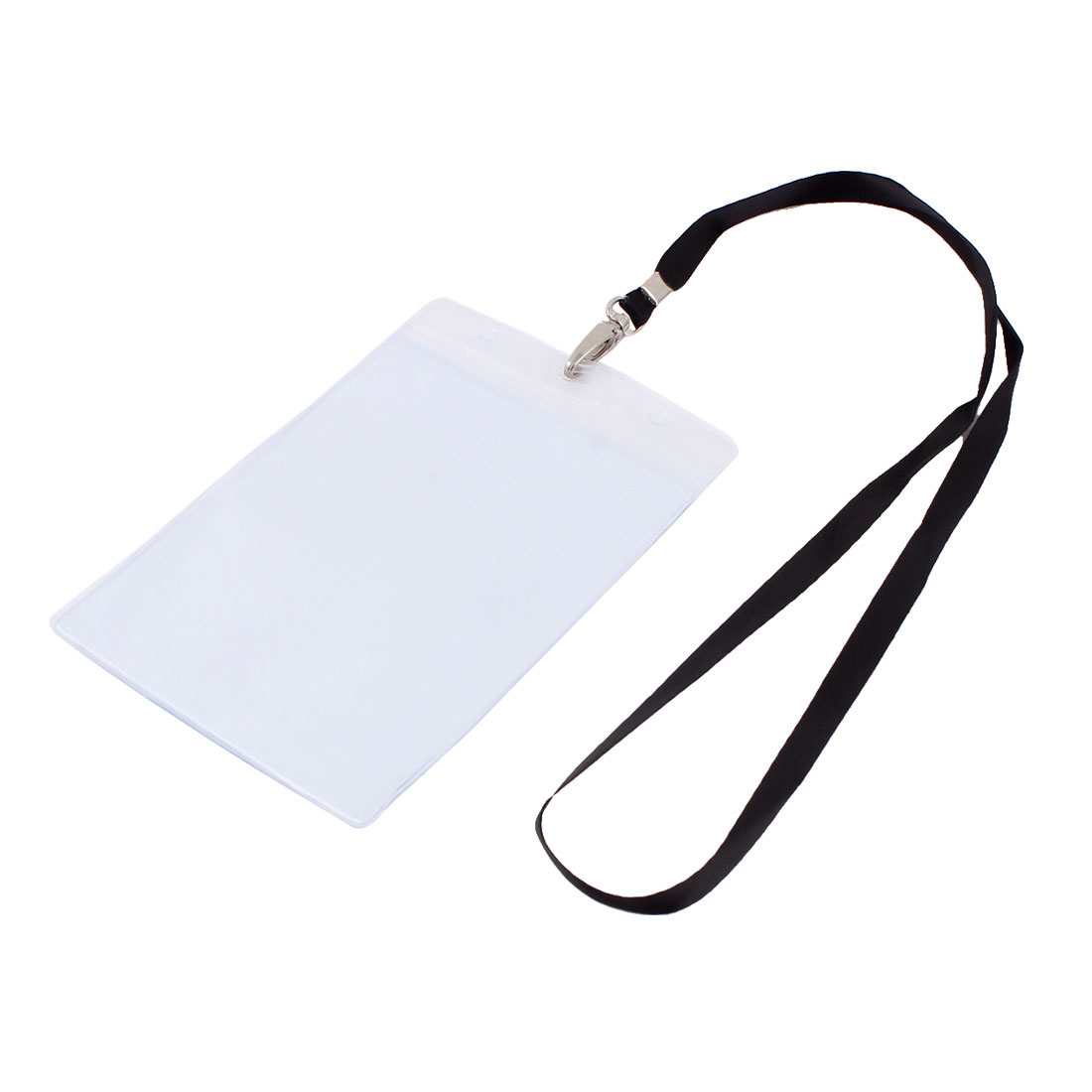 Plastic Vertical Style Lanyard Position Name Exhibition Badge Card Holder Black