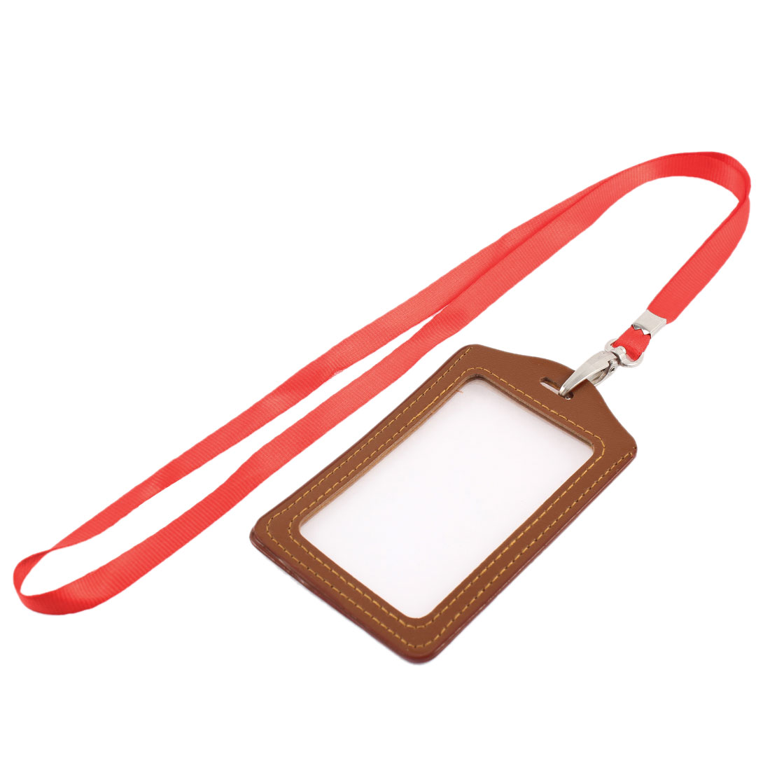Lanyard Faux Leather Vertical Work School Name ID Card Badge Holder Brown Red