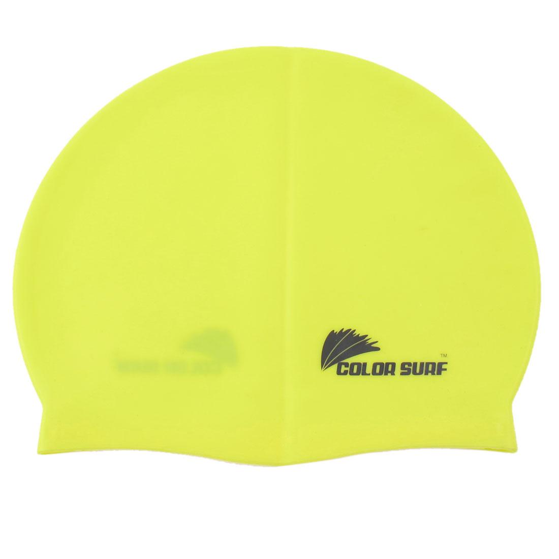 Unisex Waterproof Silicone Flexible Swim Swimming Surfing Elastic Cap Hat Yellow