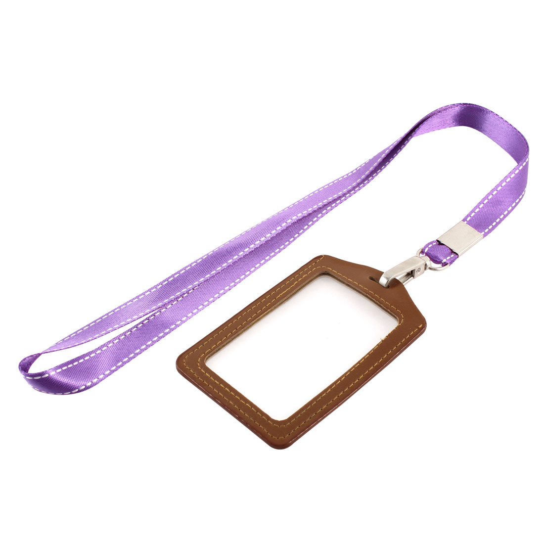 Lanyard Faux Leather Vertical Office Name ID Card Tag Badge Holder Brown Purple