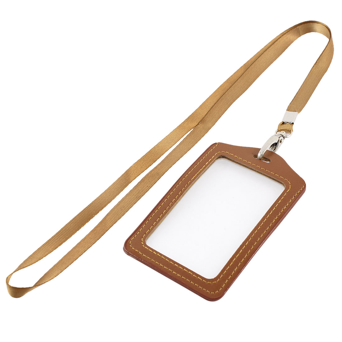 Faux Leather Vertical Work Name School ID Card Tag Badge Holder Brown w Lanyard