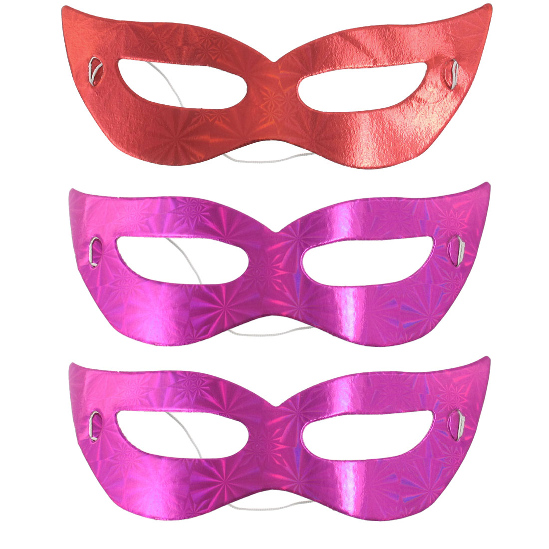 Masquerade Costume Party Fancy Dress Self Tie Band Eye Face Mask Red Fuchsia 3pcs