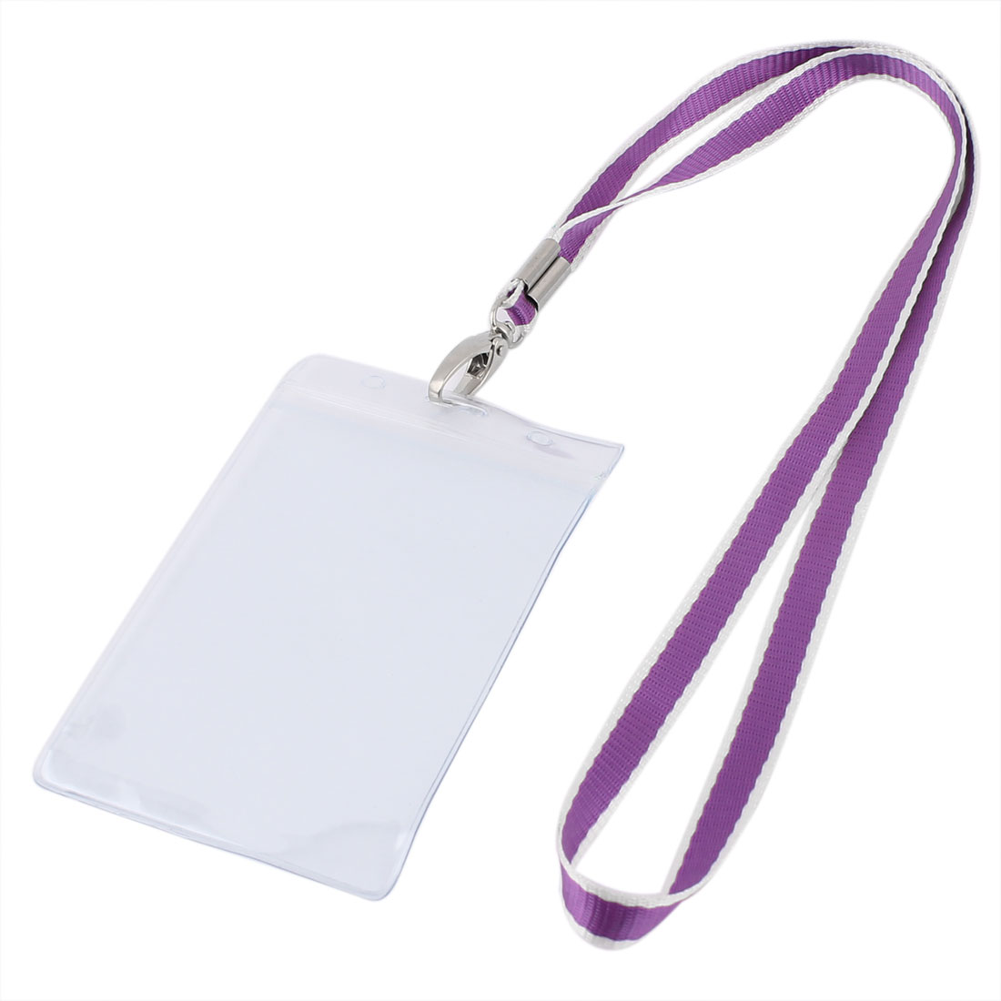 Plastic Vertical Design Purple Lanyard Exhibition Company Name Badge Card Holder