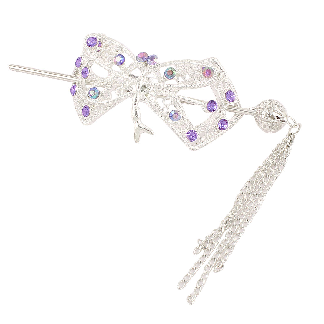 Wedding Purple Rhinestone Inlaid Metallic Ponytail Hairpin Barrette Hair Stick