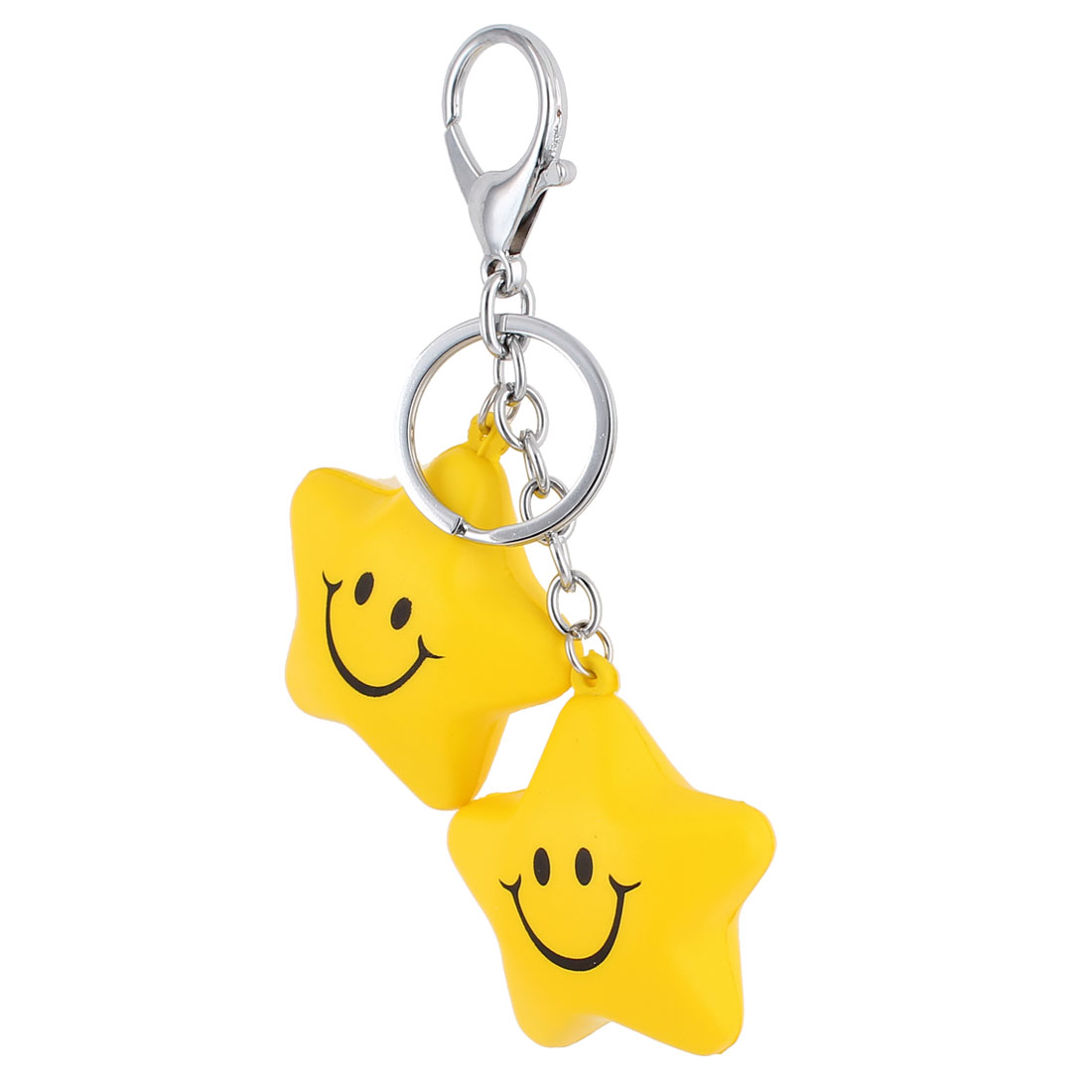 Rubber Star Shaped Pendant Swivel Lobster Clasp Keychain Keyring Keyfob Yellow
