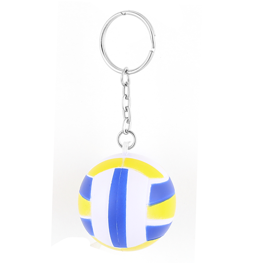 Rubber Volleyball Shaped Pendant Split Ring Keychain Keyring Yellow Blue White
