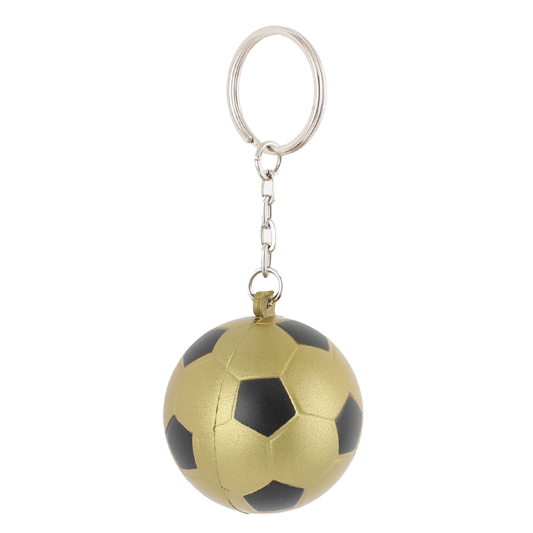 Rubber Soccer Shaped Pendant Split Ring Keychain Keyring Key Holder Brown Black