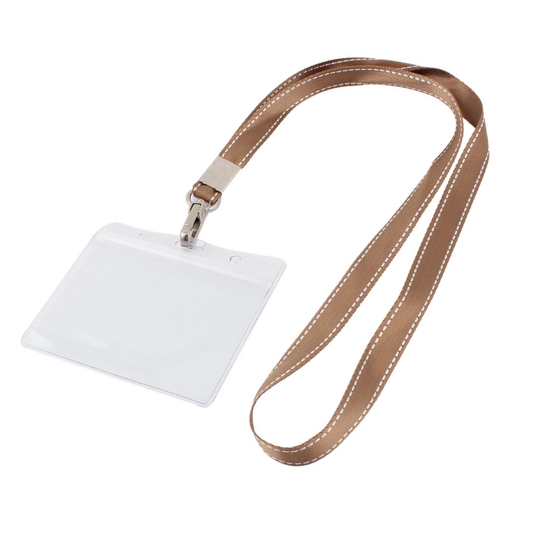 Plastic Horizontal Brown Neck Strap Name Company Position Badge Card Holder