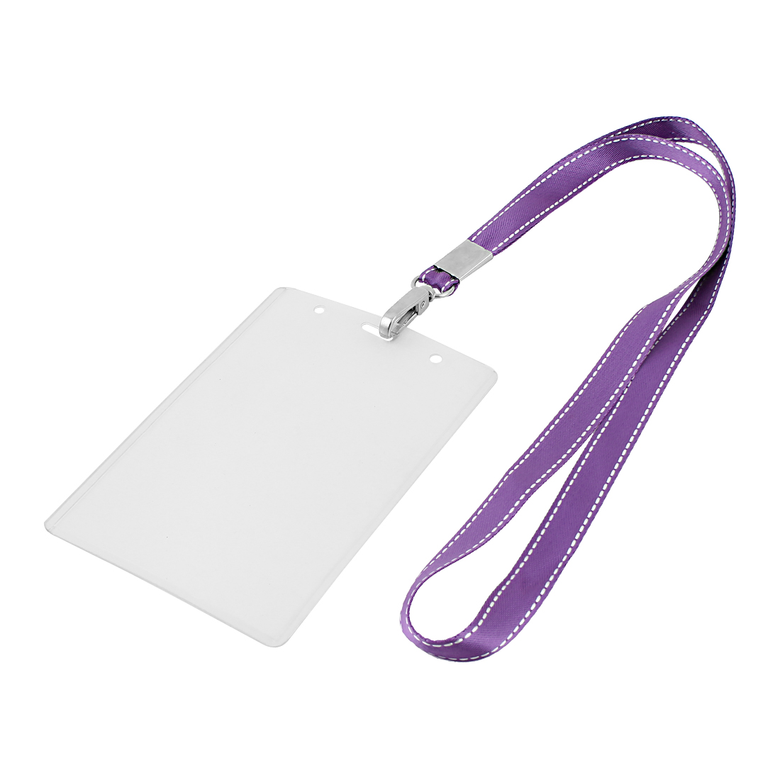 Plastic Vertical Design Purple Lanyard Name Company Position Badge Card Holder