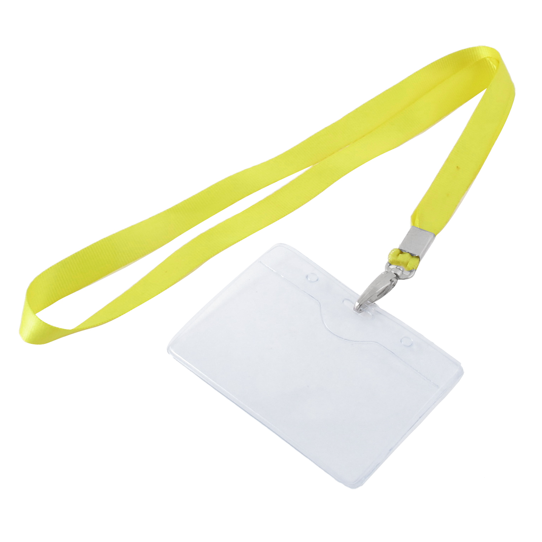 Lanyard Plastic Horizontal ID Office Employee Badge Card Holder Yellow Clear