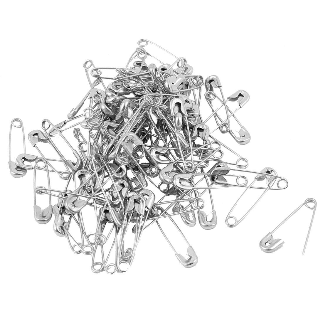 100 Pcs Metal Clothing Trimming Fastening Safety Pins 20mm x 5mm Silver Tone